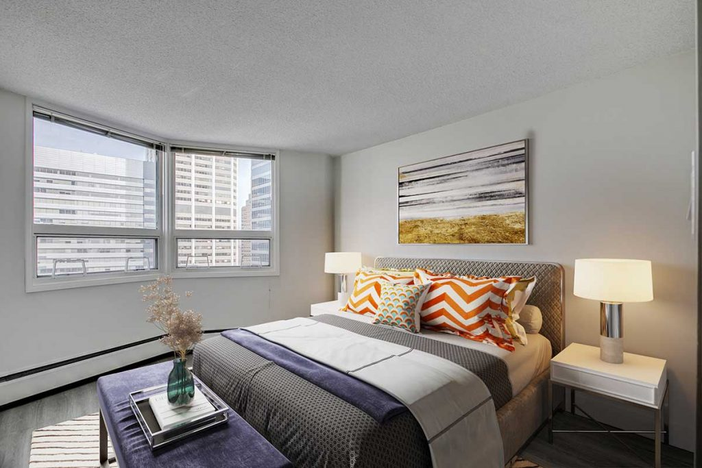 Bedroom at Westview Heights Apartments Calgary AB
